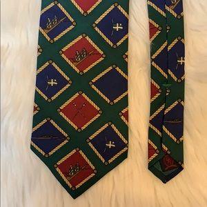 Vintage Tommy Hilfiger rowing theme silk necktie